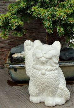 Long tail Maneki Neko Lucky Cat Sculpture by Tyber by TyberKatz, $34.95