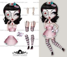 Alice the Nurse Paper Doll  Instant Download  Printable by stkhit, $4.50