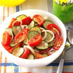 """Fire and Ice Tomatoes Recipe -You won't miss the salt in this refreshing tomato salad! It's well-seasoned with cayenne pepper, mustard seed and vinegar but not the least but spicy. """"This dish is always a hit at potlucks,"""" says Nan Rickey of Yuma Arizona."""