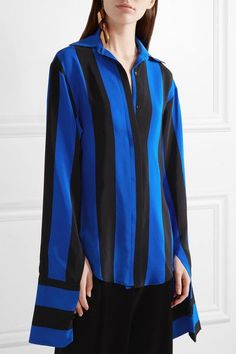Juan Carlos Obando - Striped Silk Crepe De Chine Blouse - Bright blue - US8