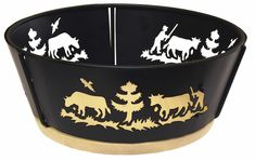 The Alps bread bowl/basket is made from black metal and has an Alpine mountain scene cut into the sides of the bowl, and a wooden base. Bowl is wide at top, high. Bread Bowls, Dog Bowls, Fondue, Black Metal, Gifts, Xmen, Html, Material, Art