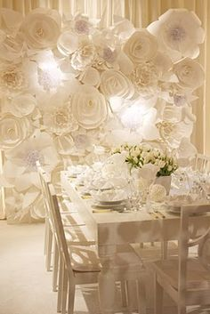 Paper flowers, white wedding decor, wedding reception, backdrop, wedding backdrop, wedding backdrop ideas, wedding backdrop decorations, wedding backgrounds, backdrops for weddings, wedding reception backdrops