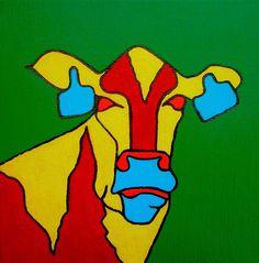 Pop-Art Cow acryl op canvas (linnen) 25/25cm.  Meer schilderijen op www.art-4-u.eu