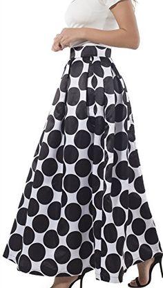 NINEWE Women's High Waist Polka Dots Print Long Pleated S...