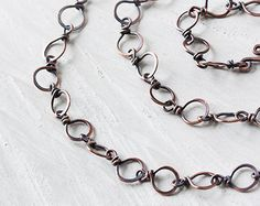 Handmade Hammered Copper Links Chain, wire wrapped circle links antiqued solid pure copper chain - unisex handcrafted oxidized copper chain