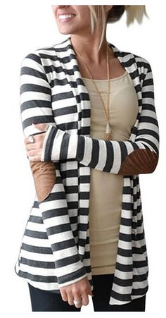 I love the elbow patches! Fall style is the best! Women's Elbow Patch Long Sleeve Open Front Cardigan Sweater