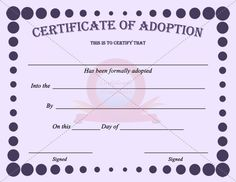 Free Printable Adoption Papers 42 Best Images About Adoption Certificate Templates On Free Pet Adoption, Adoption Papers, Printable Certificates, Certificate Templates, Brochure Templates Free Download, Estimate Template, Best Resume Template, Sample Resume