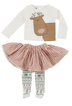 A designer pick for the 2015 holiday season, this 3 piece Christmas set by Mud Pie is perfect for winter outings and visiting Santa! The Reindeer skirt set features a cotton interlock top with a keyhole back and a layered, multi-fabric reindeer applique with embroidered antlers. The set includes a woven cotton ticking skirt with fancy pom pom trim and Fair Isle patterened holiday tights.