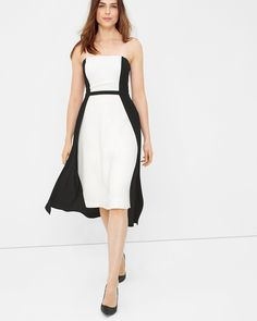 White House | Black Market Strapless Colorblock Fit-and-Flare Dress  #whbm