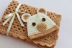 Crochet Baby Blanket / Afghan and Hat Teddy Bear Toffee Ivory