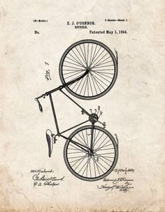 Bicycle Patent Print Art Poster Old Look (16' x 20')