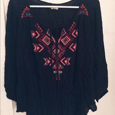 Ecotè embroidered peasant top Love this Ecotè top from Urban Outfitters! It is very flowy and light with 3/4 billowy sleeves. A great match for your favorite pair of jeans and some great booties. Ecote Tops Blouses