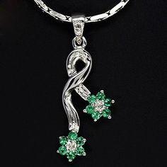 10k Pure Gold Natural Top REAL Emerald Diamond Pendant Valentine Gift Jewelry $ #Handmade #Pendant