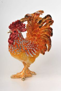 Orange Rooster Faberge Styled Trinket Box Handmade by Keren Kopal Enamel Painted Decorated with Swarovski Crystals Gold Plated