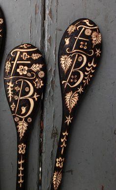 2 custom monogrammed spoons anniversary gift by burnedfurniture