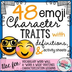 My Best Selling Character Traits/Adjectives Bulletin Board Set is now EMOJI styled! 48 character traits with definitions are perfect to use for bulletin boards, a Word a Week programs, teaching character trait minilessons, and literacy station activities.