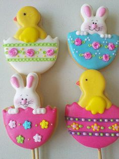 Colorful easter cookie pops