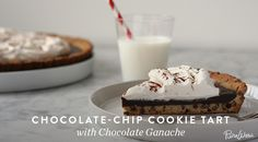 Chocolate Chip Cookie Tart with Chocolate Ganache: The crust is made of cookies, people