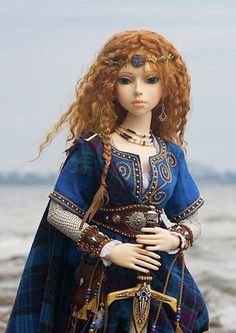 Arwyn, a Celtic Warrior Maiden. Ball-jointed doll by Elfdoll; clothing, jewelry and wig by Martha Boers.