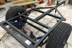 Myron's Compact Jeep trailer frame buildup progressing