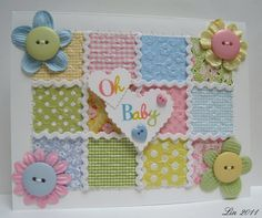 Baby Quilt card. SO SO cute. Ilove the button centers for the flowers and the rickrack on the quilt instead of sewing. Just adorable!
