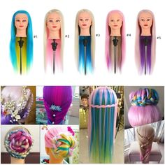 27.12$  Know more - http://aiegy.worlditems.win/all/product.php?id=W3355-5 - Colorful Manikin Rainbow Hair Training Head Dummy Head with Thick 70cm Long Hair Dolls Head Great Mannequin Head For Hairdressers