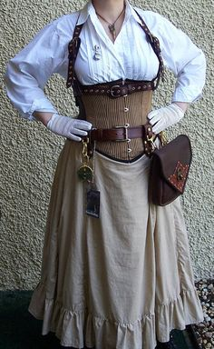 Steampunk Bustle Victorian Gored Skirt Ruffles Airship LARP by ItsNotPajamas - Steampunk Steampunk Clothing - Smoked Glass Goggles