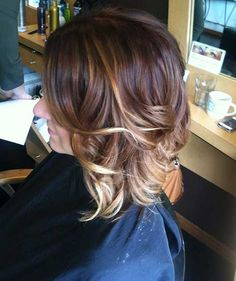 Short angled bob rich red base with golden blonde balayage ...