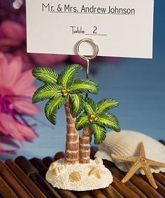 Ocean Breezes Collection Palm Tree Place Card Holders : hotref.com