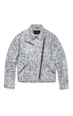 Cedric Charlier Noir Cuir Imprime Jacket