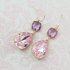 Rosaline Pink Swarovski Crystal GOLD FILLED by earringsnation