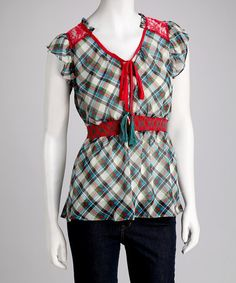 Take a look at this Coral Plaid Tunic by Blow-Out: Women's Apparel on #zulily today!