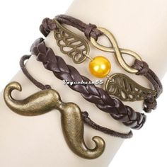Fashion Alloy Anchor Rudder Leather Friendship Love Couple VE4A Charm Bracelet | eBay I reall y like this because it has the golden snitch from hary potter and a mustaache and an infinity symbol!!! only $0.99 and free shipping
