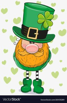 Cute Cartoon Leprechaun with clower leaf on a hearts background St Patricks Day Clipart, St Patricks Day Cards, Saint Patricks Day Art, Wood Block Crafts, Diamond Drawing, St Patrick's Day Decorations, Rock Painting Designs, St Pats, Rock Crafts