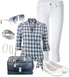 """""""White 'n Blue"""" by kayachan ❤ liked on Polyvore"""