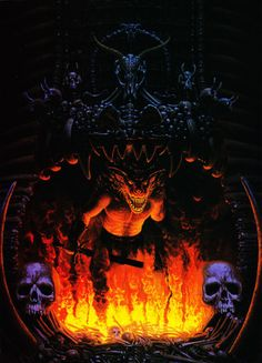 """""""Orcus's Doorman"""", Keith Parkinson, 1987. (From The Art of the Advanced Dungeons & Dragons Fantasy Game, 1989; appeared as cover of AD&D module H4: The Throne of Bloodstone in 1988.)"""