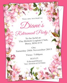 Retirement Invitations. Prices start from £6.50. Free envelopes and delivery inland uk only.
