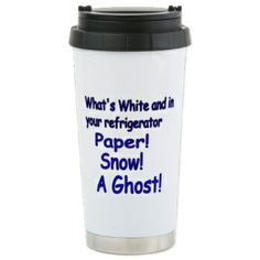 Paper! Snow! A Ghost! Stainless Steel Travel Mug $23.99 Product Information Always travel in style with our stainless steel travel mug. - Double-wall vacuum insulation technology helps maintain temperature