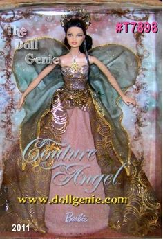 Second in the series, Couture Angel Barbie doll is a heavenly vision of romance in dramatic colors. She seems to float on air in a strapless gown with golden foil printed tulle. Her ornate golden crown matches her medallion necklace, while her wings feature golden glitter with a delicate golden thread edge. This sweet seraph is a divine doll indeed! Designed by Linda Kyaw