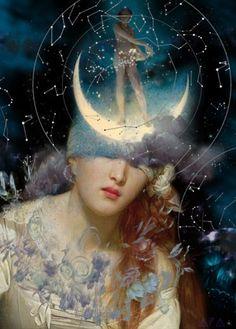 Image Deco, Goddess Art, Classical Art, Moon Art, Pics Art, Surreal Art, Aesthetic Art, Dark Art, Collage Art
