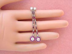 www.MelsAntiqueJewelry.com ESTATE ART DECO 1.48ctw DIAMOND 1.03ctw RUBY HALO LONG STUD DANGLE EARRINGS #ARTDECOEARRINGS