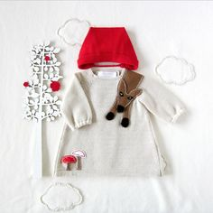 Knitted baby dress and cap Little Red Riding Hood by tenderblue, $100.00
