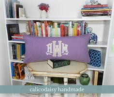 Large Applique Monogram Pillow Cover  14 x 28 OR 14 x 36
