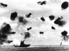 The Yorktown at the moment of impact of a torpedo during the Battle of #Midway. #WWII