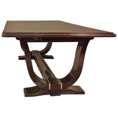 a monumental french art deco nickel trimmed rosewood dining table from a unique collection of art deco rosewood dining