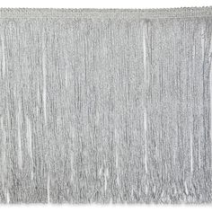 """12"""" Metallic Chainette Fringe Silver from @fabricdotcom  This metallic chainette fringe trim is perfect for making a statement in fashion and home decor. This metallic fringe has movement and sparkle in the light, perfect for costumes, draperies, and more."""