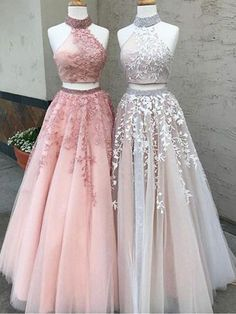 Latest Two Pieces Prom Dresses Beaded Lace Evening Gowns #pinkpromdress #longformaldress #eveningdresses