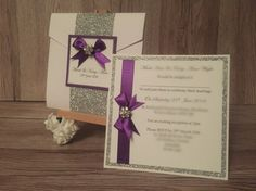 Beautiful Holly in white and purple Pocketfold and Square postcard Invitation Examples, Invitations, 25 March, Rsvp, Color Schemes, Reception, Marriage, Gift Wrapping, Place Card Holders
