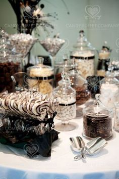 black and white candy buffet...I had a candy bat for my Baby Shower :)