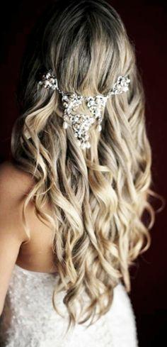 Boho bride's gorgeous long down curls bridal hair ideas Toni Kami Wedding Hairstyles ♥❸ Pearl Hair jewelry